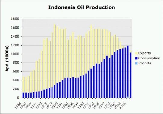 Indonezja: wydobycie - zużycie ropy