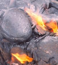 Płonące łupki bitumiczne