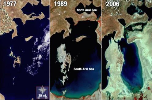 Zmiany powierzchni Morza Aralskiego