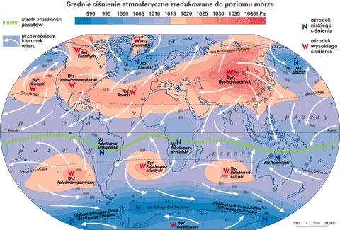 Układ ciśnień i wiatry w lipcu