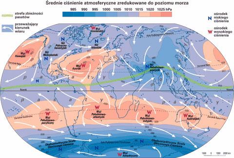 Układ ciśnień i wiatry w styczniu