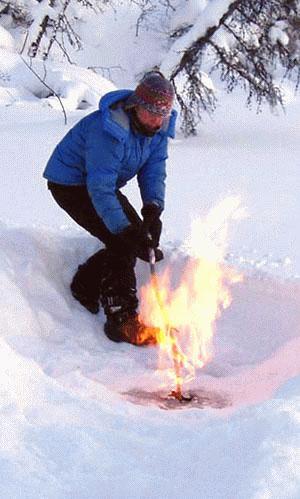 Zapłon metanu wydobywającego się ze zmarzliny